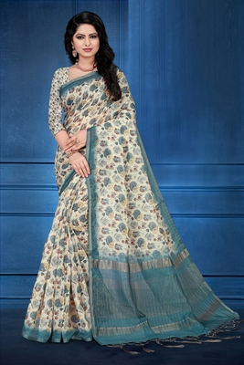 Multicolor printed cotton silk saree with blouse