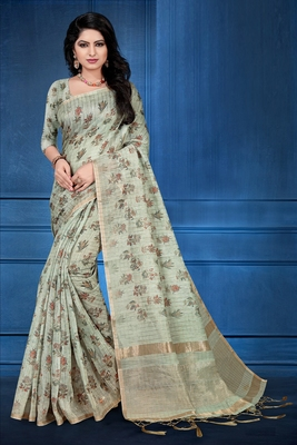Green printed cotton silk saree with blouse