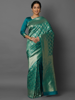 Turquoise woven cotton silk saree with blouse