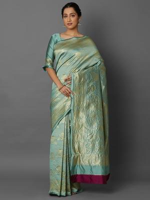 Silver  woven cotton silk saree with blouse