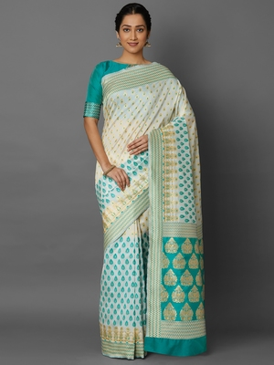Off white woven cotton silk saree with blouse