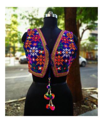 Blue Coloured Based Foil Mirror Worked Flower Design Kutch Embroidered Velvet Designer Jacket