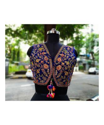 Blue Coloured Based Foil Mirror Worked Kutch Embroidered Velvet Designer Jacket
