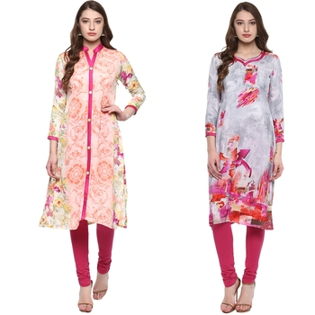 multicoloured  combo of crepe floral print kurtis