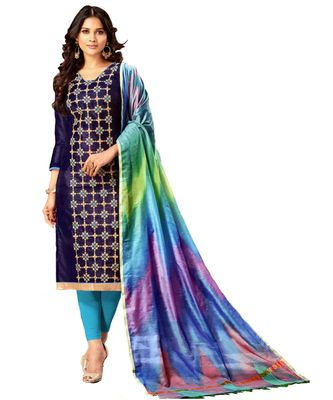 blue embroidered silk blend unstitched salwar with dupatta