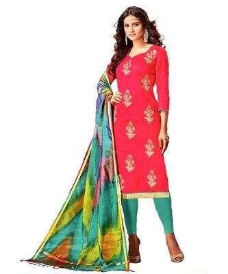 Pink Embroidered Silk Blend Unstitched Salwar With Dupatta