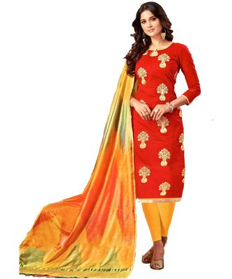 red embroidered silk blend unstitched salwar with dupatta