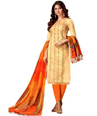 gold embroidered silk blend unstitched salwar with dupatta