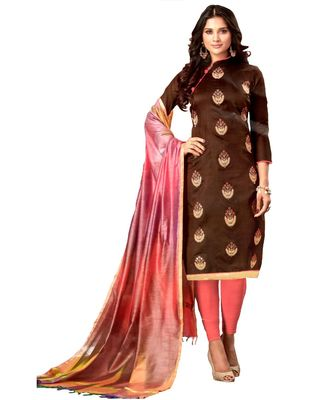 brown embroidered silk blend unstitched salwar with dupatta