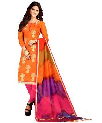 orange embroidered silk blend unstitched salwar with dupatta