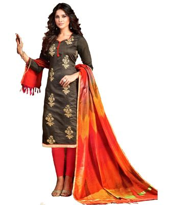 grey embroidered silk blend unstitched salwar with dupatta