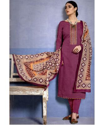 purple embroidered cotton unstitched salwar with dupatta