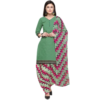 Green Abstract Print Blended Cotton Salwar