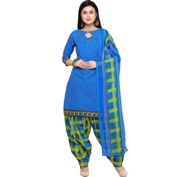 Blue floral print blended cotton salwar