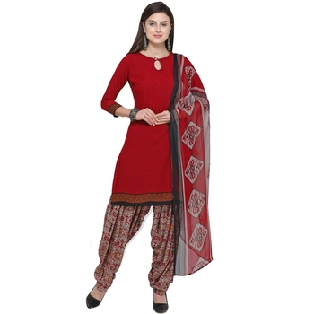 Red abstract print blended cotton salwar