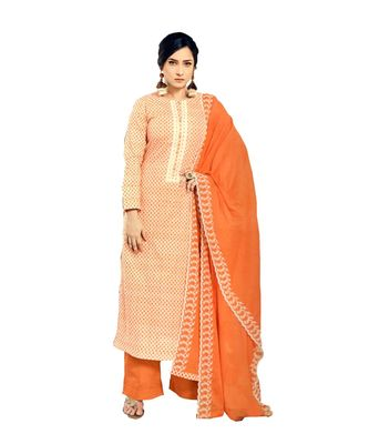 Orange Embroidered Cotton Unstitched Salwar With Dupatta