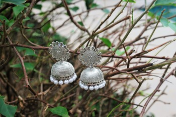 Elegant pearl oxidized jhumki earrings