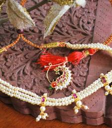 White pearl Maharastrian choker necklace with nath nose ring