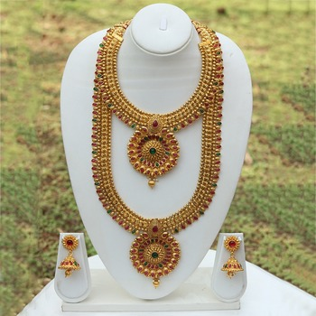 South Indian jewellery multicolour green and red necklace set