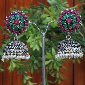 Purple and green oxidized jhumki earrings