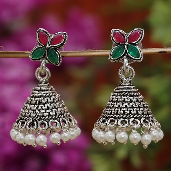 Floral green and maroon oxidized pearl jhumki earrings