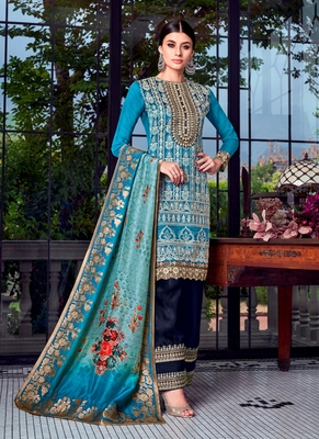 Sky-blue embroidered silk salwar