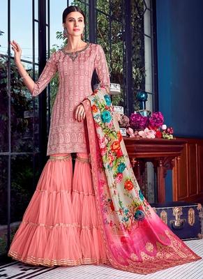 Mauve embroidered silk salwar