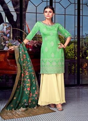 Parrot-green embroidered silk salwar