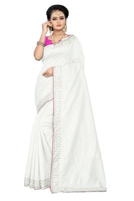 white plain silk blend saree with blouse