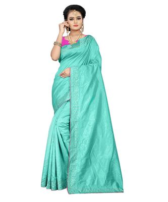 turquoise plain silk blend saree with blouse