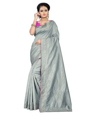 grey plain silk blend saree with blouse
