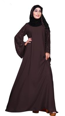 Justkartit Women's Party Wear Nida Plain Abaya Burka with Hijab Scarf