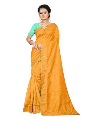 golden plain silk blend saree with blouse