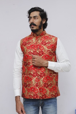 Red printed silk blend nehru-jacket