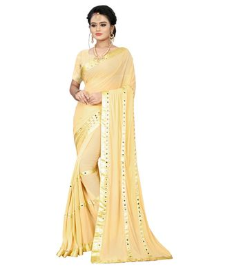 cream plain silk blend saree with blouse