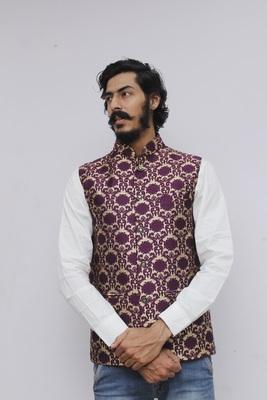 Purple printed silk blend nehru-jacket