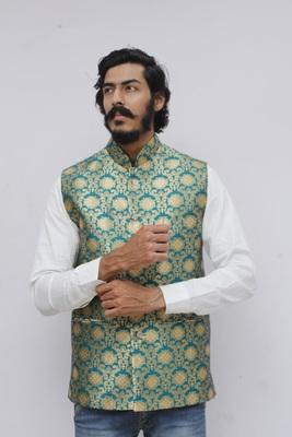 Turquoise printed silk blend nehru-jacket