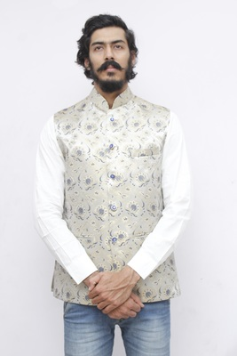 Blue printed silk blend nehru-jacket