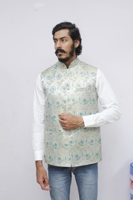 Green printed silk blend nehru-jacket