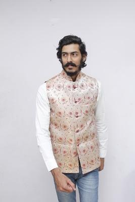 Maroon printed silk blend nehru-jacket