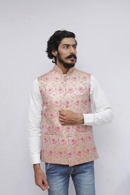 Pink printed silk blend nehru-jacket