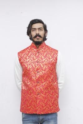 Red printed silk blend nehru-jacket