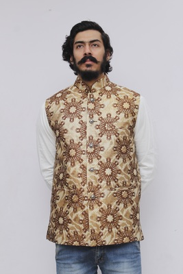 Brown printed silk blend nehru-jacket