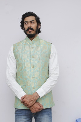 Green printed silk blend nehru-jacket