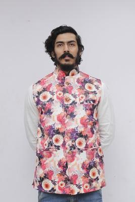 White printed polyester nehru-jacket