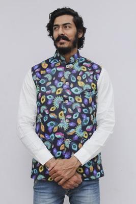 Turquoise printed polyester nehru-jacket