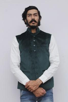 Green plain velvet nehru-jacket