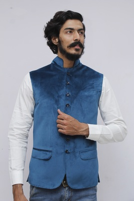 Blue plain velvet nehru-jacket
