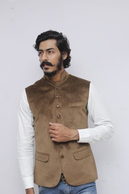 Beige plain velvet nehru-jacket