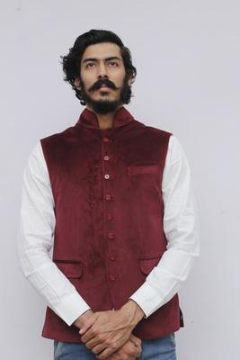 Maroon plain velvet nehru-jacket